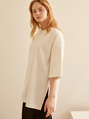 19SS ROUND NECK OVERFIT LONG TOP WHITE