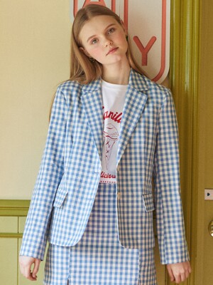 DE GINGHAM CHECK JACKET(LIGHT BLUE)