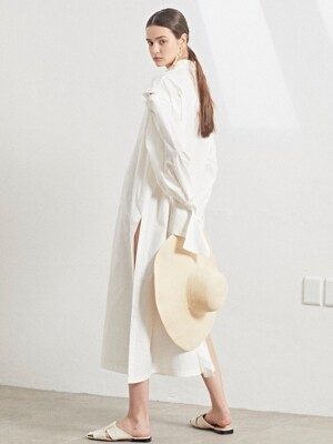 Rhea sleeve detachable long shirt dress_White