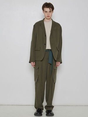 Khaki Raw Edges Smart Blazer[made to order]