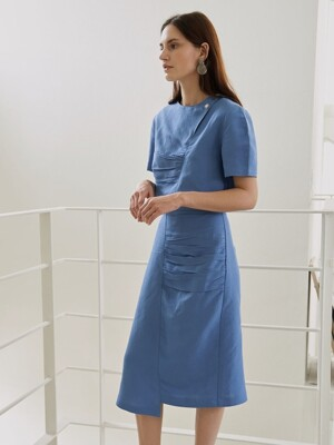 TENDER SHIRRING SKIRT BLUE