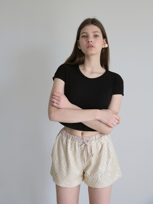 SOFT Spangle Short Pants_Beige