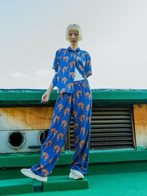TIGER FLUID PANTS_BLUE ORANGE