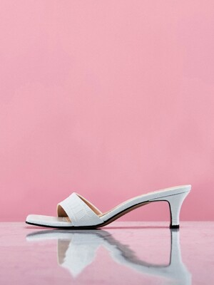 Square-Toe Slide Sandals (White Croco)