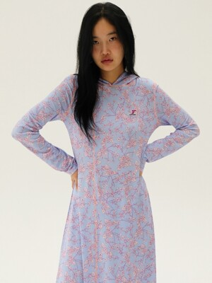 [TC19AWOP07] FLOWER PATTERN HOODY JERSEY DRESS