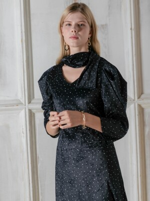 Snow Dot Puff sleeve dress