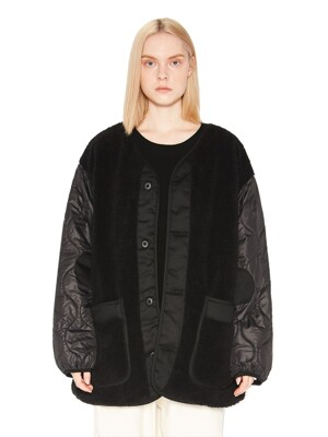 COLLARLESS SHERPA QUILTING JACKET black