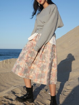 Floral jacquard full skirt: One color