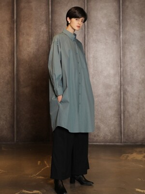 Overfit long shirt dress_Dust mint