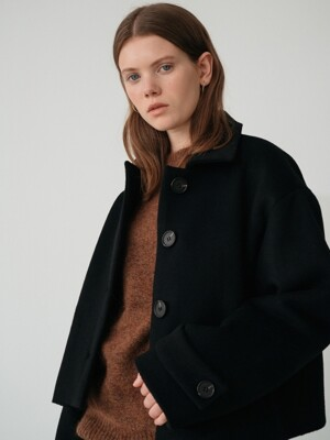19fw wool short coat (black)