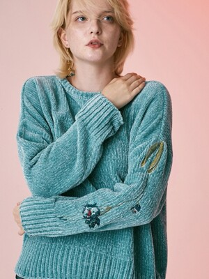FLOWER POINT VELVET KNIT_LIGHT MINT