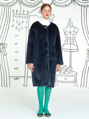 Roundneck Fur Coat _ Navy