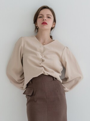Front Shirring Back Button Blouse Beige