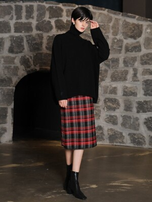 Check tweed skirt_Red