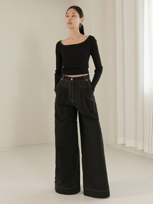 [TC20SSPT03] STITCHED TUCK GATHER WIDE PANTS [BLACK]