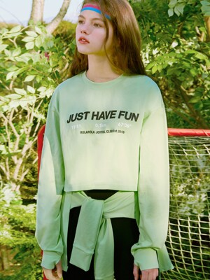 (TS-20152) CROP LONG SLEEVE T-SHIRT LIME