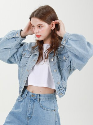 BANDING CROP PUFF SLEEVE DENIM JACKET C518JK002-LB