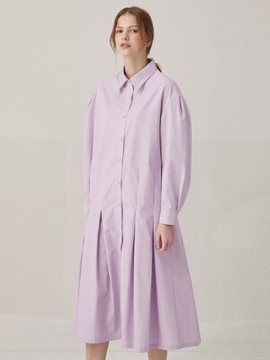 Volume sleeve cotton shirts dress - Lavender