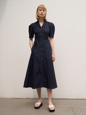 TTR LINEN COLLAR FLARED DRESS 3COLOR