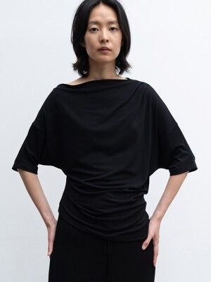 20SUMMER ASYMMETRIC HALF-SLEEVE TOP (BLACK)