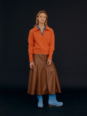 Contrast Pocket Leather Gored Long Skirt / Brown