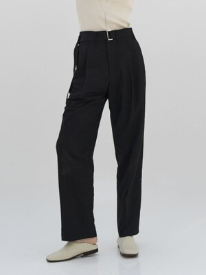 CRINKLE Belted 2Pleats Pants_Black