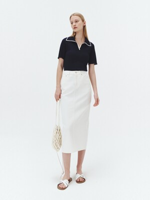 BACK SLIT DENIM PENCIL SKIRT WHITE_UDSK1E213WT