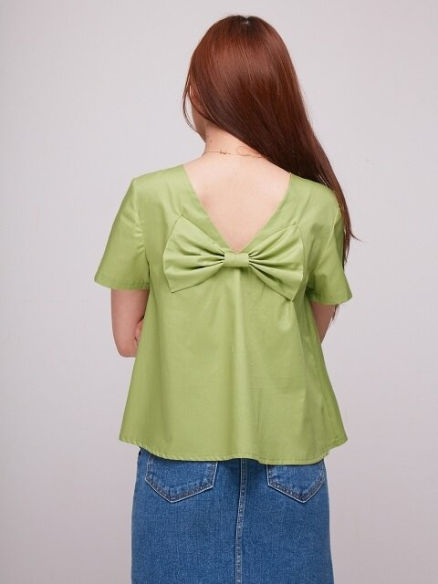 Baby Back Ribbon Blouse [GREEN]
