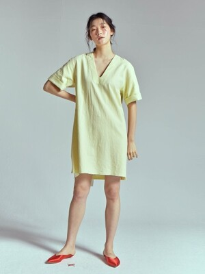 DEEP V NECK LINEN MINI DRESS[LEMON]