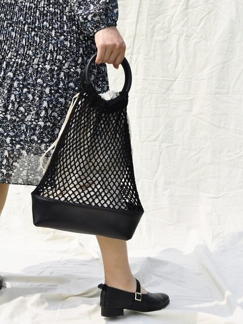 Knit bucket bag_black