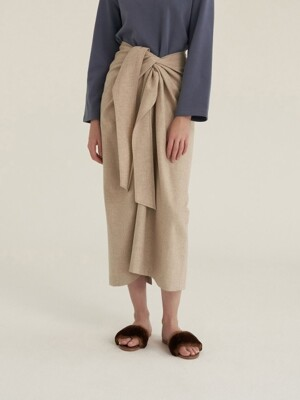 TWIST THIN WOOL SKIRT OATMEAL