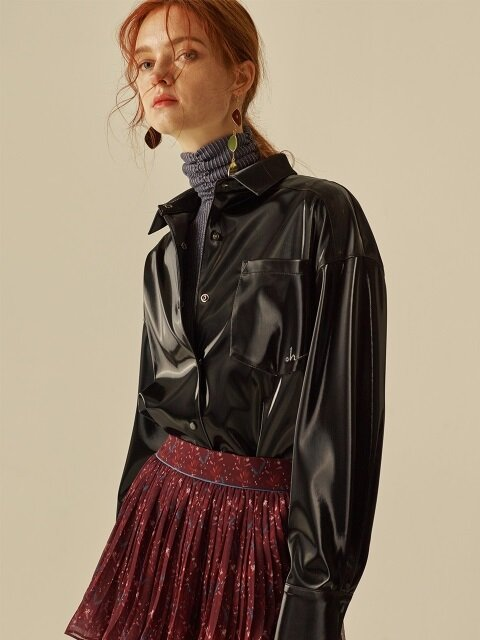 FAKE LEATHER OVERSIZE SHIRT_BLACK