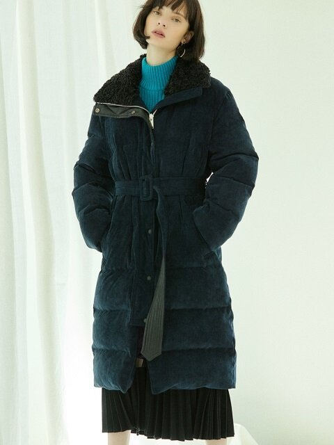 corduroy long down coat Navy