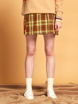 CHECK PATCH SKIRT [YELLOW]