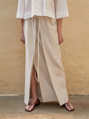 Skirt Stripe Linen Beige