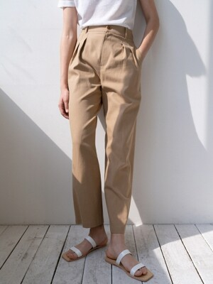 linen-cotton wide pants (beige)