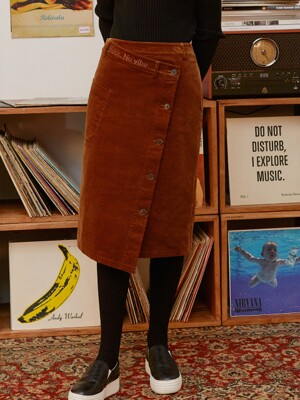 (SK-19742) CORDUROY MIDI WRAP SKIRT BROWN
