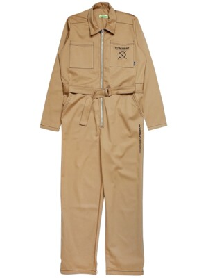 MECHANICS COVERALL JUMPSUIT-BEIGE