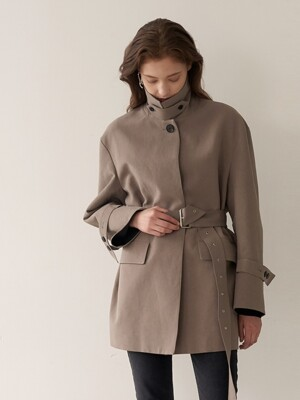 MELBA Half Length Belted Trench Coat_Cocoa Brown