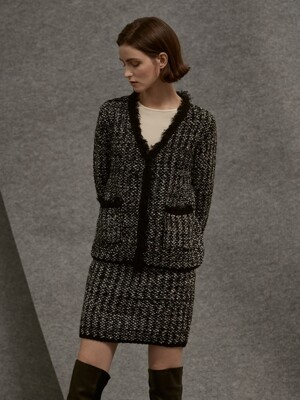 wool tweed knit skirt_black