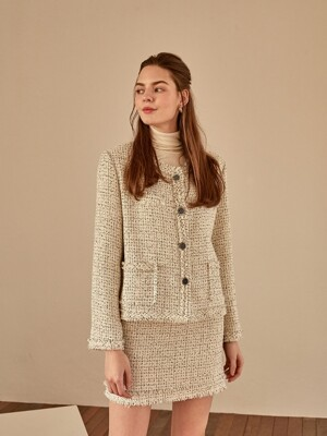 grace tweed jacket[ivory]