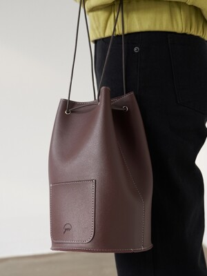minimal cylinder bag - chocolate color