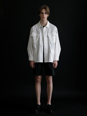 BDU COTTON SHIRT JACKET WHITE