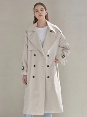 CAMILLA DOUBLE TRENCH COAT_LIGHT BEIGE