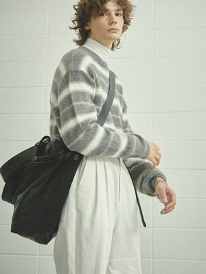GREYCREAM blushed mohair stripe knit (MT005)
