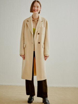 WOOL CASHMERE TAILORED COAT LIGHT BEIGE (AECO0F002I1)