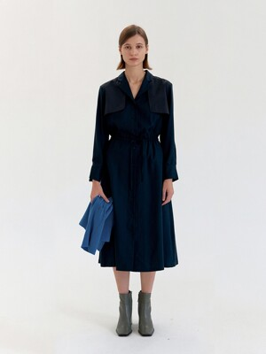 Trench Coat Dress - Navy
