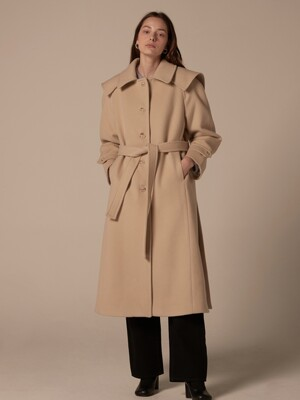 Detachable collar single coat - Butter