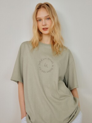 GREEN SELFCARE EMBROIDERY OVERSIZE TSHIRT