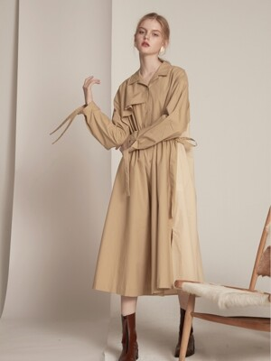 [단독] String Shirts One-piece - Beige